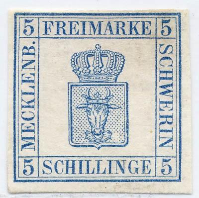 Mecklenb.-Schwerin MiNr. 3 * 5 S blau