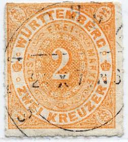 Württemberg MiNr. 37a o 2 Kreuzer, mattorange, DS