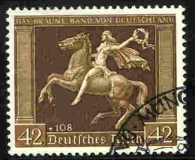 """Dt. Reich MiNr. 671y o """"Das Braune Band"""" 1938 / waagr. Gummirifflung"""