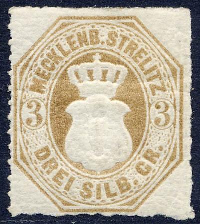 Mecklenb.-Strelitz MiNr. 6 * 3 Silbergroschen / schwärzlichbraunocker