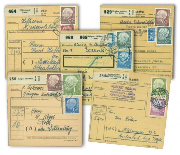 """BRD Paketkarten-Lot """"Heuss"""" 5 Paketkarten"""