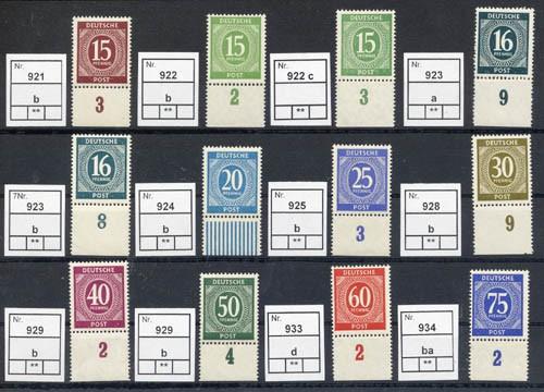 All.Bes.GA 23 Werte Farbkollektion aus MiNr. 911/37 ** mit Unterrand