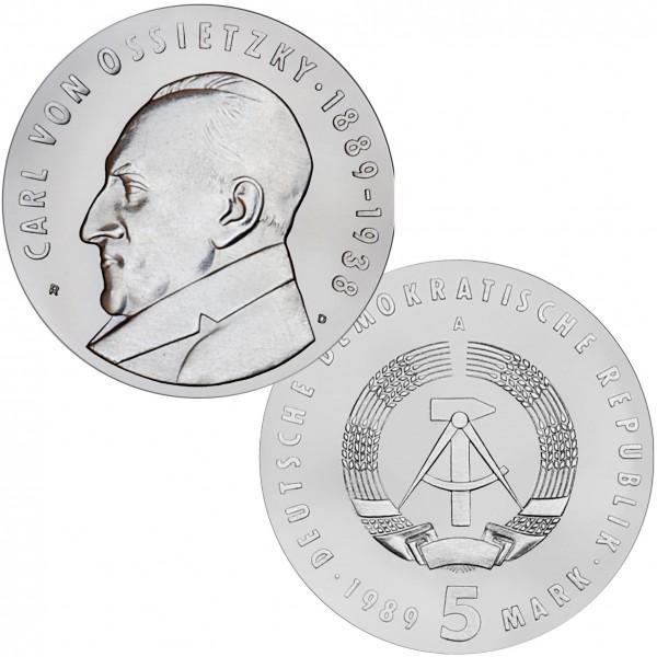 DDR Münze 1989, 5 M, PP 100. Geburtstag Carl v.Ossietzky