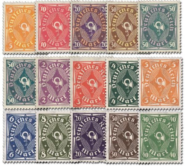 """Dt. Reich MiNr. 205/09 + 209y + 224/32 ** FM: """"Posthorn"""" von 1922/23"""