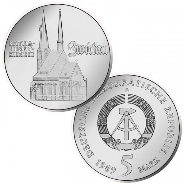 DDR Münze 1989, 5 M, PP Katharinenkirche Zwickau