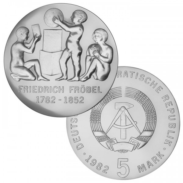 DDR Münze 1982, 5 M, PP 200. Geburtstag Friedrich Fröbel