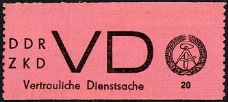 DDR Dienstmarken D MiNr. 2 ** Attest Aufkleber f. VD, lilarosaes Papier, senkr. gez.