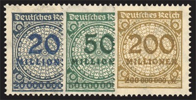 "Dt. Reich MiNr. 319 AWb gepr., 321AWb, 323 APb ** FM-Set ""Korbdeckelmuster"""