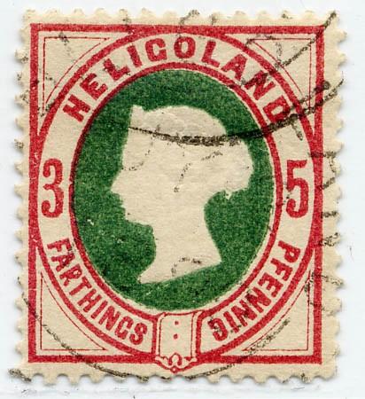 Helgoland MiNr. 13a o 3Pf/5F dkl.lilakarmin/grün