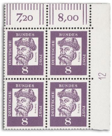 """BRD MiNr. 349 ** 8Pf. Eckrandstück mit DZ FM Bedeutende Deutsche """"Gutenberg"""""""