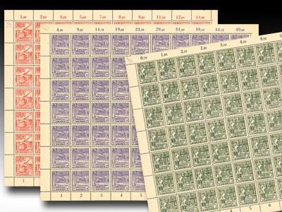 SBZ Prov.Sa. Bogensatz MiNr. 87/89 A ** mit über 30 Plattenfehlern, inkl. Sammelblatt