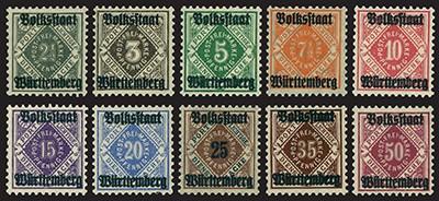 Württemberg Dienstmarken MiNr. 134/43 ** Ziffern in Raute mit Aufdruck