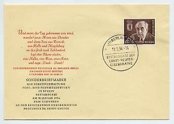 Berlin FDC Mi-Nr. 115 Tod von Prof. Ernst Reuter