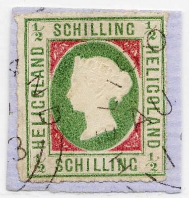 Helgoland MiNr. 1I o 1/2 Schilling / grün/karmin / Typ I