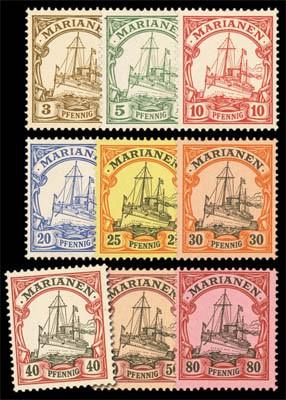 Dt. Kolonien Marianen MiNr. 7/15 ** FM: Kaiseryacht - die Pf-Werte (Kurzsatz)