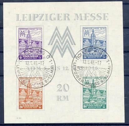 SBZ West-Sa. MiNr. Bl. 5X gestempelt Leipziger Messe 1946