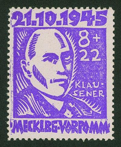 SBZ M./V. MiNr. 21 ** 8+22 Pf. Opfer des Faschismus mit Plattenfehler