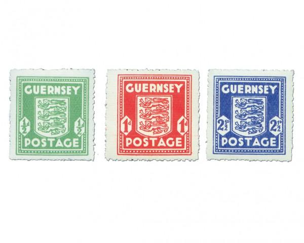 Dt. Besetzung Kanalinseln/Guernsey MiNr. 1-3 ** Wappen, ohne Wz