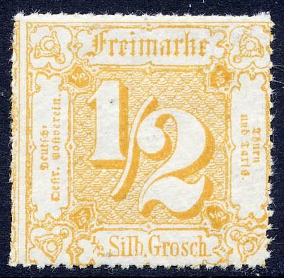 Thurn & Taxis MiNr. 37 ** 1/2 Gr., gelblichorange, durchstochen