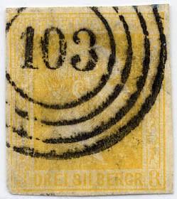 Preußen MiNr. 8b o 3 Sgr orangegelb /geschnitt/glatt