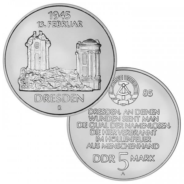 DDR Münze 1985, 5 M, st 40. Jhrstg.d.Zerstörung Dresdens/Frauenk.