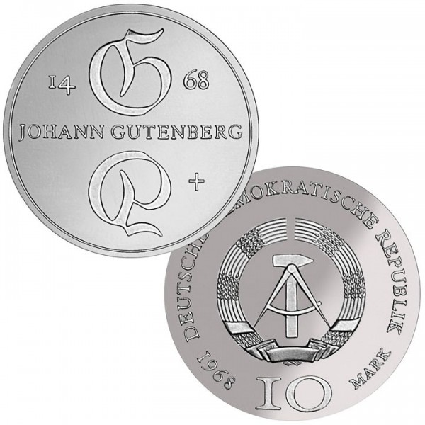 DDR Münze 1968, 10 M, st 500. Todestag J. Gutenberg