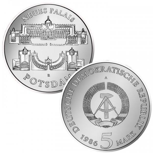 DDR Münze 1986, 5 M, PP Neues Palais Potsdam