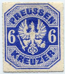 Preußen MiNr. 25a * 6 Kr ultramarinblau