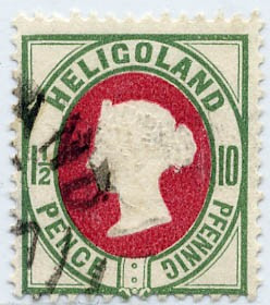 Helgoland MiNr. 14b o 10Pf/1 1/2 P mittelgrün/mittelkarmin