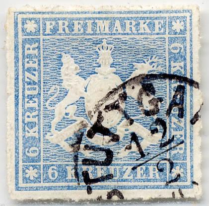 Württemberg MiNr. 32a o 6 Kreuzer,blau, DS