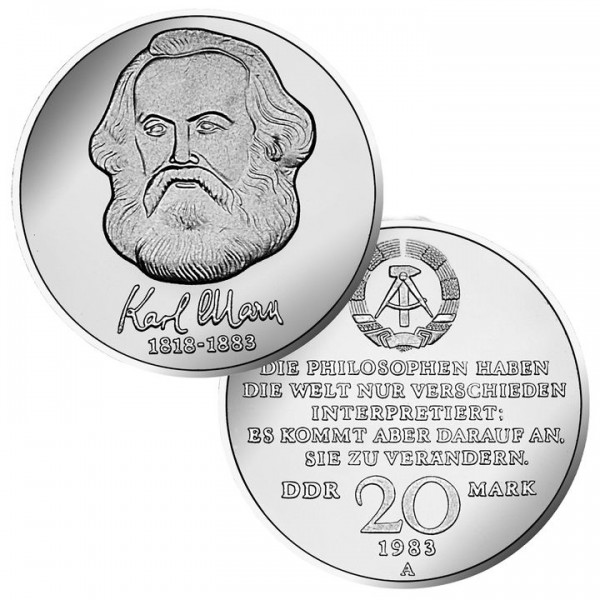 DDR Münze 1983, 20 M, PP 100. Todestag Karl Marx