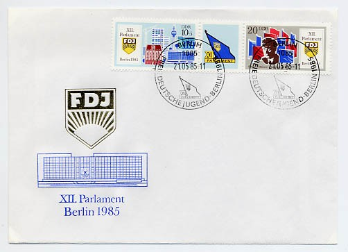 DDR FDC MiNr. 2947/48 Zdr. Parlament d. FDJ