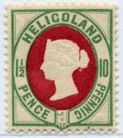 Helgoland MiNr. 14e ** 10Pf/1 1/2 P bläul.grün/karmin