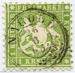 Württemberg MiNr. 25a o 1 Kreuzer, gelblichgrün, K10