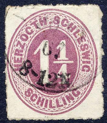 Schleswig-Holstein MiNr. 14 o 1 1/4 Schilling - rosalila/ durchstochen