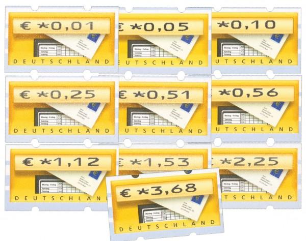 """BRD ATM 5.1.VS1 ** """"Briefkasten"""" von 2002 10 Werte, 0,01€ - 3,68€"""