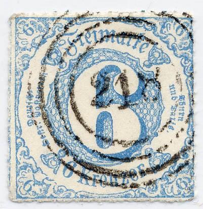 Thurn & Taxis MiNr. 43IA o 6 Kr., blau, durchstochen