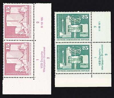 DDR MiNr. 1853/54 ** Eckrandst. mit DV Freimarken: Aufbau in der DDR