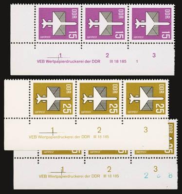 DDR MiNr. 3128/29 w + 3129 v ** mit DV Die letzten DDR-Flugpostmarken