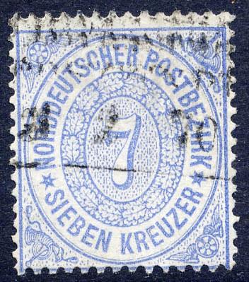 Norddeutscher Postbezirk MiNr. 22 o 7 Kreuzer / graublau