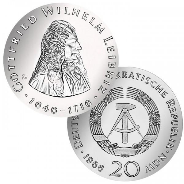 DDR Münze 1966, 20 M, st 250. Todestag G. W. Leibniz