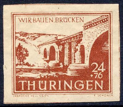 SBZ Thür. MiNr. 115 cy ** 24 + 76 Pf Wiederaufbau Brücken