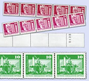 "DDR MiNr. 1868/69 v + 1869 w ** Komplettsatz:5er-RM-Streifen ""Aufbau I"""