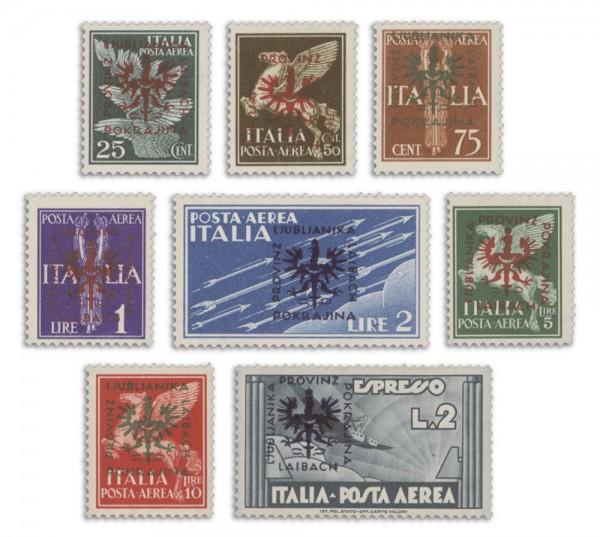 Dt. Besetzung Laibach MiNr. 21-28 ** Flugpostm.von Italien m.Aufdruck