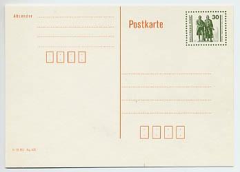 """DDR Ganzsache P 107 I * 30 Pf. Postkarte """"Deutsche Post"""""""
