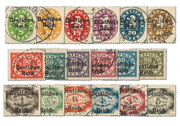 Dt. Reich Dienst MiNr. 34/51 o gepr. Teilaufl.: Dienstmarken von Bayern