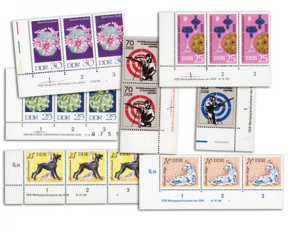 DDR Druckvermerke -Kollektion ** 20 verschiedene Briefmarkenausgaben
