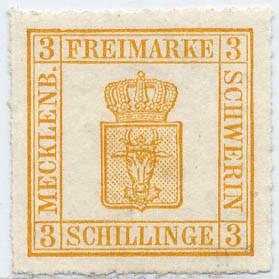 Mecklenb.-Schwerin MiNr. 7II (*) 3 Schilling gelblichorange