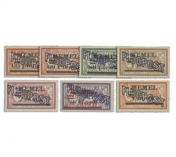 Memelgebiet MiNr. 40/46 ** Flugpostmarken I mit zusätzl. Aufdruck
