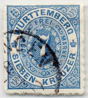 Württemberg MiNr. 39a o 7 Kreuzer, mittelblau, DS